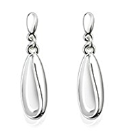 M&S Collection Silver Plated Sleek Wave Drop Earrings
