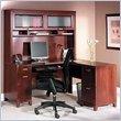 Bush Furniture Tuxedo L Desk Home Office Set with Hutch in Hansen Cherry Finish