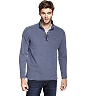 North Coast Pure Cotton Half Zip Washed Look Top
