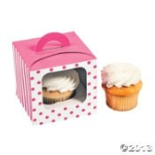 Candy Pink Polka Dot Cupcake Boxes With Handles And Inserts - 12 Ct