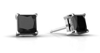 Sterling Silver 925 Black CZ 4mm Square Princess Cut Stud Earrings [Jewelry]
