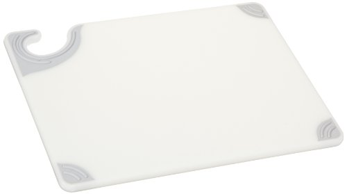 "San Jamar Cbg912 Saf-T-Grip X-Pediter Co-Polymer Cutting Board, 12"" Length X 9"" Width X 3/8"" Thick, White back-519397"