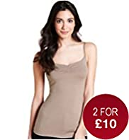 Scoop Neck Plain Ruched Camisole with Stay New&#8482;