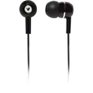 V7 Ha100-2Np Noise Isolating Stereo Earbuds, Black