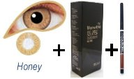 Coloured Contact Lenses with 120ml Solution and Case - Honey (3 Months)