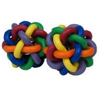 Multi Pet Nobbly Wobbly II Mini with Bell 2pk Rubber Dog or Bird Toy