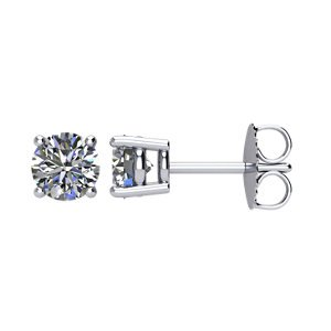 Genuine IceCarats Designer Jewelry Gift 14K White Gold Diamond Stud Earrings. Diamond Stud Earrings In 14K White Gold