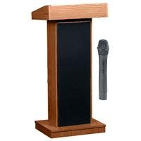 Oklahoma Sound Orator 800X Sound Lectern With Lwm-5 Wireless Microphone, Medium Oak