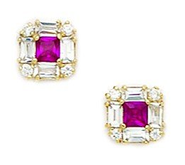 14ct Yellow Gold Red CZ Small Princess Baguette Cut Fancy Post Earrings - Measures 7x7mm