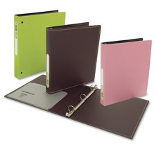 "Acco/Wilson Jones Products - Poly Binders, w/ 1 Pocket, 3-Ring, 11""x8-1/2"", 1"" Cap, Green - Sold as 1 EA - Poly binder is made of semi-rigid foam, PVC-free polypropylene. The sophisticated exterior is blind embossed with a horizontal line pattern. Brown interior features classic white stitching around edges. Durable hinges easily open and close. The three round metal rings have a dual-trigger mechanism. Binder also features one poly interior pocket in front flap with a business card slot."