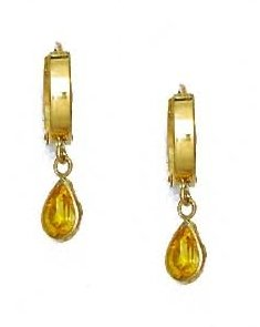14ct Yellow Gold 7x5 mm Pear Yellow CZ Drop Earrings