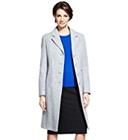 M&S Collection Wool Blend Notch Lapel Coat with Cashmere