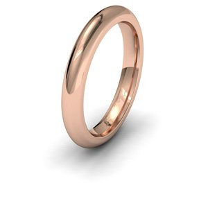 18ct Rose Gold, 3mm Wide, Court Shape Heavy Weight Wedding Ring