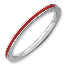 Captivating Silver Stackable Red Enamel Ring. Sizes 5-10