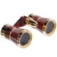 Pro-Optic 3X 25 Focusing Opera Glass Binocular,Light, Burgundy With Gold Trim---Good For Ball Games