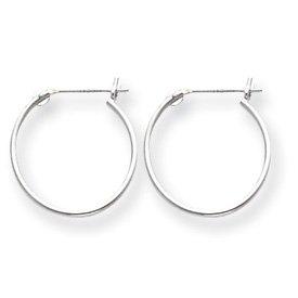 Genuine IceCarats Designer Jewelry Gift 14K White Gold 1Mm Hoop Earrings