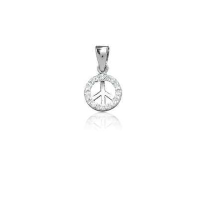 Cute Fashion Necklace Pendant Jewelry 925 Sterling Silver Small Charm in.Peace Symbol Design with Clear CZ(WoW !With Purchase Over $50 Receive A Marcrame Bracelet Free)