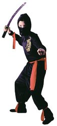 Ninja Child Costume Black - Large (12-14) - 1