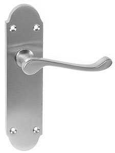 epsom door handle latchset 170mm x 40mm satin chrome from e-hardware