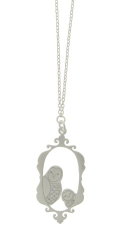 Tashi Brushed Sterling Silver Owl Family Portrait Necklace