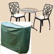 Bosmere C511 Bistro Set Waterproof Outdoor Cover for 2 Chairs & Round Table 49-Inch Long x 25-Inch Wide x 31-Inch High