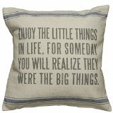 Primitives by Kathy 3-Stripe Enjoy the Little Things Linen Pillow, 15-Inch by 15-Inch