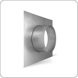 150mm diameter flanged spigot plate, flanget, wall flange, galvanised steel ducting