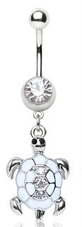 Clear Crystal White Turtle Shaped Dangle Belly Bar Navel Ring