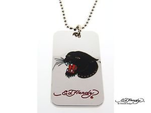 Ed Hardy Panther Head Dogtag Pendant Necklace EHDT23S-CJ