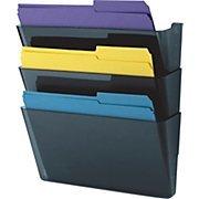 Staples® Wall File Pocket, 3 Pockets, Letter, Blue Smoke, 8 1/2\