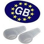 Euro Gb self adhesive sticker + Headlamp beam deflectors converters