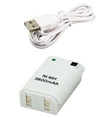 White USB Rechargeable Battery Pack & USB Cable for Xbox 360 Controller Charger