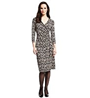 M&S Collection Monochrome Feather Print Wrap Dress with StayNEW™