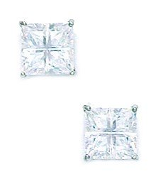 14k White Gold 6x6mm 4 Segment Square CZ Basket Set Earrings - JewelryWeb