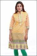Aamii Women's Chanderi Kurta(Aamii729_Yellow_X-Large)
