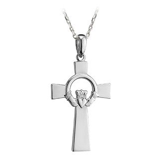 Sterling Silver Celtic Cross with Claddagh Center Necklace-Irish Made