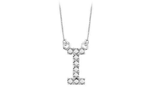 Petite Baby Charm Diamond I Initial Pendant 14K White Gold - 0.20 Ct Diamonds