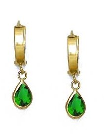 14ct Yellow Gold 7x5 mm Pear Green CZ Drop Hinged Earrings