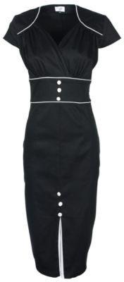 Lindy Bop 'Cecelia' Classic Black Vintage 1940'S 1950'S Pinup Pencil Wiggle Dress, X-Small
