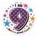 Badge 15cm Happy Birthday Age 9 Boy by Creative