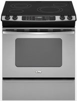 Whirlpool Gold GY399LXUS 30″ Slide-in Electric Range with 4 Radiant Burners, Ceramic Glass Cooktop Surface, Self-Clean Oven and AccuBake System: Stainless Steel
