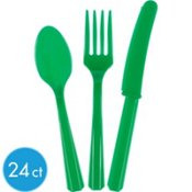 Premium Cutlery 24 Piece Festive Green