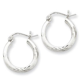 Genuine IceCarats Designer Jewelry Gift Sterling Silver Rhodium-Plated 2Mm Satin & Diamond Cut Hoop Earrings