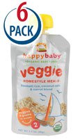 Happy Baby Organic Baby Food Veggie Homestyle Meals Stage 2 Basmati Rice, Coconut Milk & Carrot -- 3.5 oz Each / Pack of 6