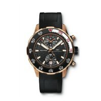 IWC Aquatimer Black Dial 18kt Rose Gold Black Rubber Mens Watch IW376905