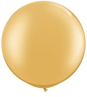 "Koyal Wholesale Round Latex Giant Balloon (Pack of 2), 30"", Metallic Gold - 1"