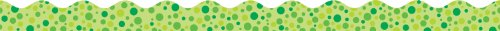 Scholastic TF8260 Scalloped Trimmer, Green Polka Dots
