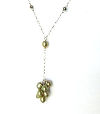 Amethyst's by Sara Lim Green culture freshwater pearl sterling silver necklace.
