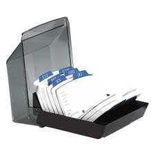 Rolodex Corporation ROL67093 Card File W-Cover- 9 Dividers- 250-Card Cap- 2-14in.x4in.- Black