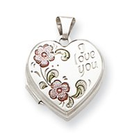 Sterling Silver Floral I Love You 18mm Heart Locket - JewelryWeb